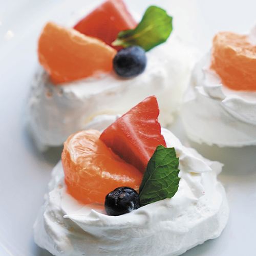 Mini Pavlovas with Tangerine Cream & Fresh Fruit by Chef Kate!