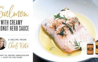 Salmon with Creamy Coconut Herb Sauce by Chef Kate Essential Oils infused