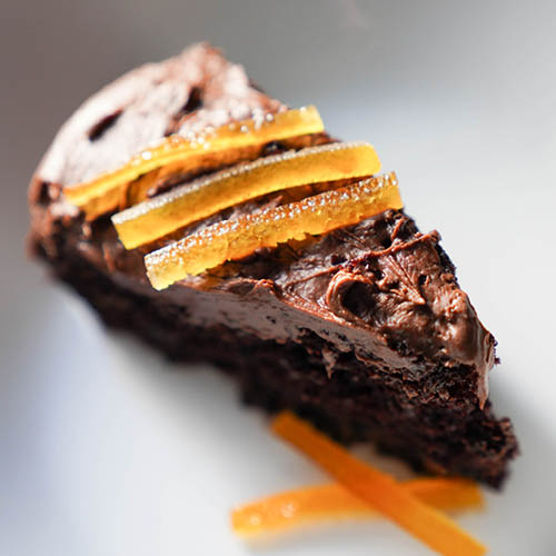 Vegan Chocolate Cake with Orange Oil
