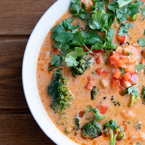 Prawn Curry Soup with Cilantro Essential Oil