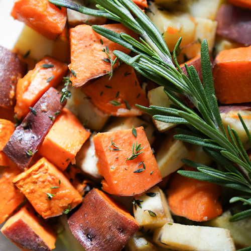 Roasted Sweet Potatoes with Thyme and Rosemary Essential Oil