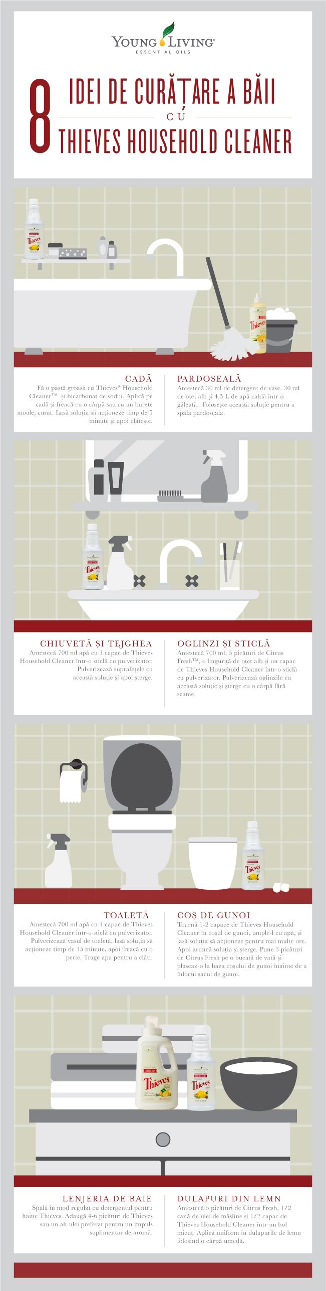 8 Idei de curățare a băii cu detergentul de uz casnic Thieves® Household Cleaner