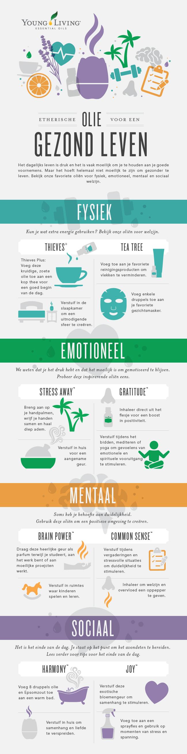 Infographic met etherische olie voor mentale, fysieke, emotionele en sociale gezondheid