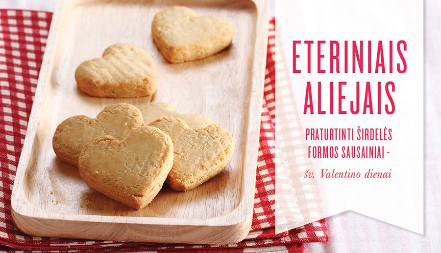 Širdelės formos šv. Valentino dienos sausainiai