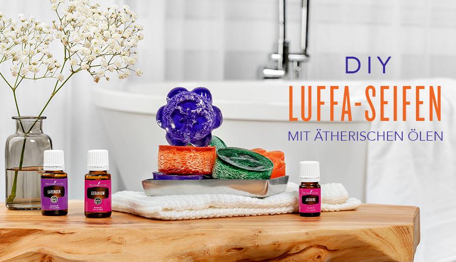 Handgemachte Luffa-Seife mit ätherischen Ölen