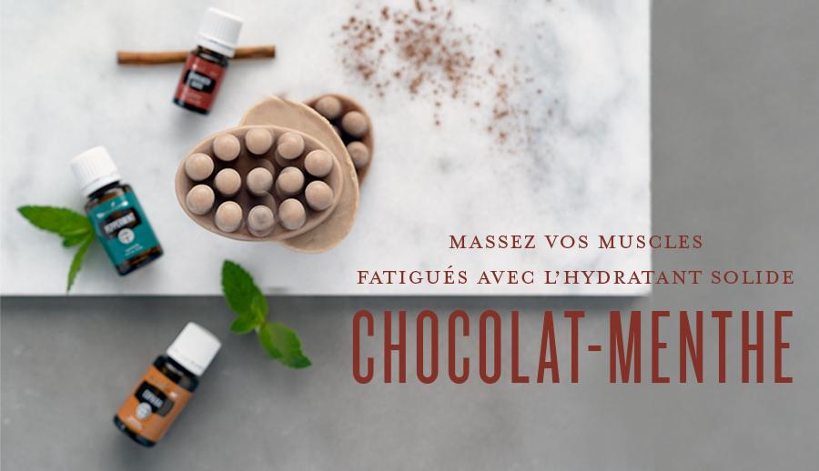 Massez vos muscles fatigués avec l'hydratant solide chocolat-menthe
