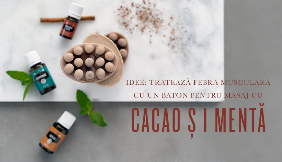Tratează febra musculară cu un baton pentru masaj cu cacao și mentă