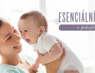 • Esenciální oleje v pokojíčku s usmívající se maminkou a miminkem