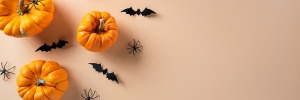 Pumpkins with decorative spiders and bats