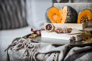 Autumn decorations with pumpkin book and dried fruit