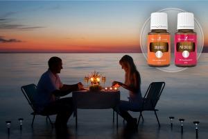 Masă în luna de miere la lumina lumânărilor cu uleiuri esențiale de patchouli și portocale