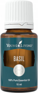 Bottle of Young Living Basil Essential Oil