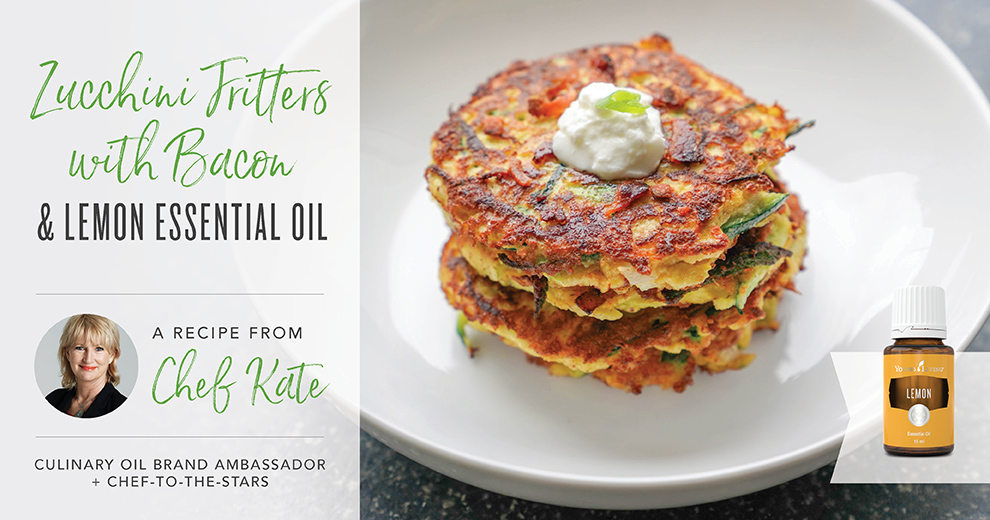 Zucchini Fritters with lemon Essential Oil by Chef Kate