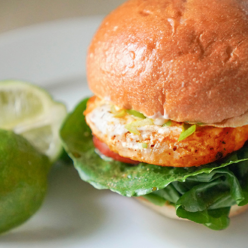Asian Salmon Burgers with Ginger & Spring Onion Aioli