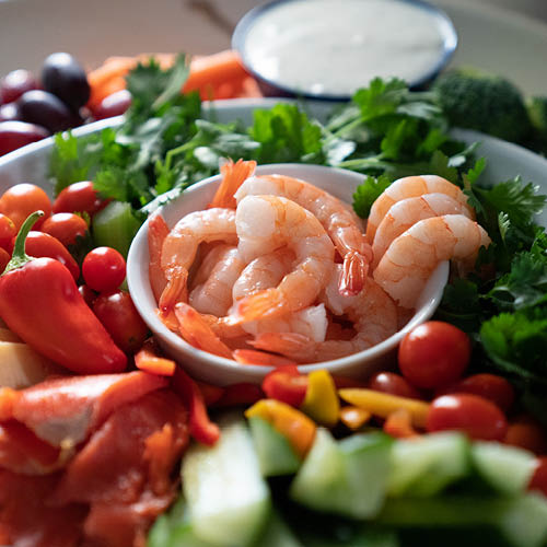 Seafood, Vegetable & Fruit Grazing Platter with Three Dips