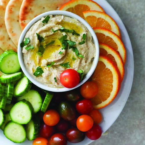 Vegan Hummus Platter with Lemon Essential Oil