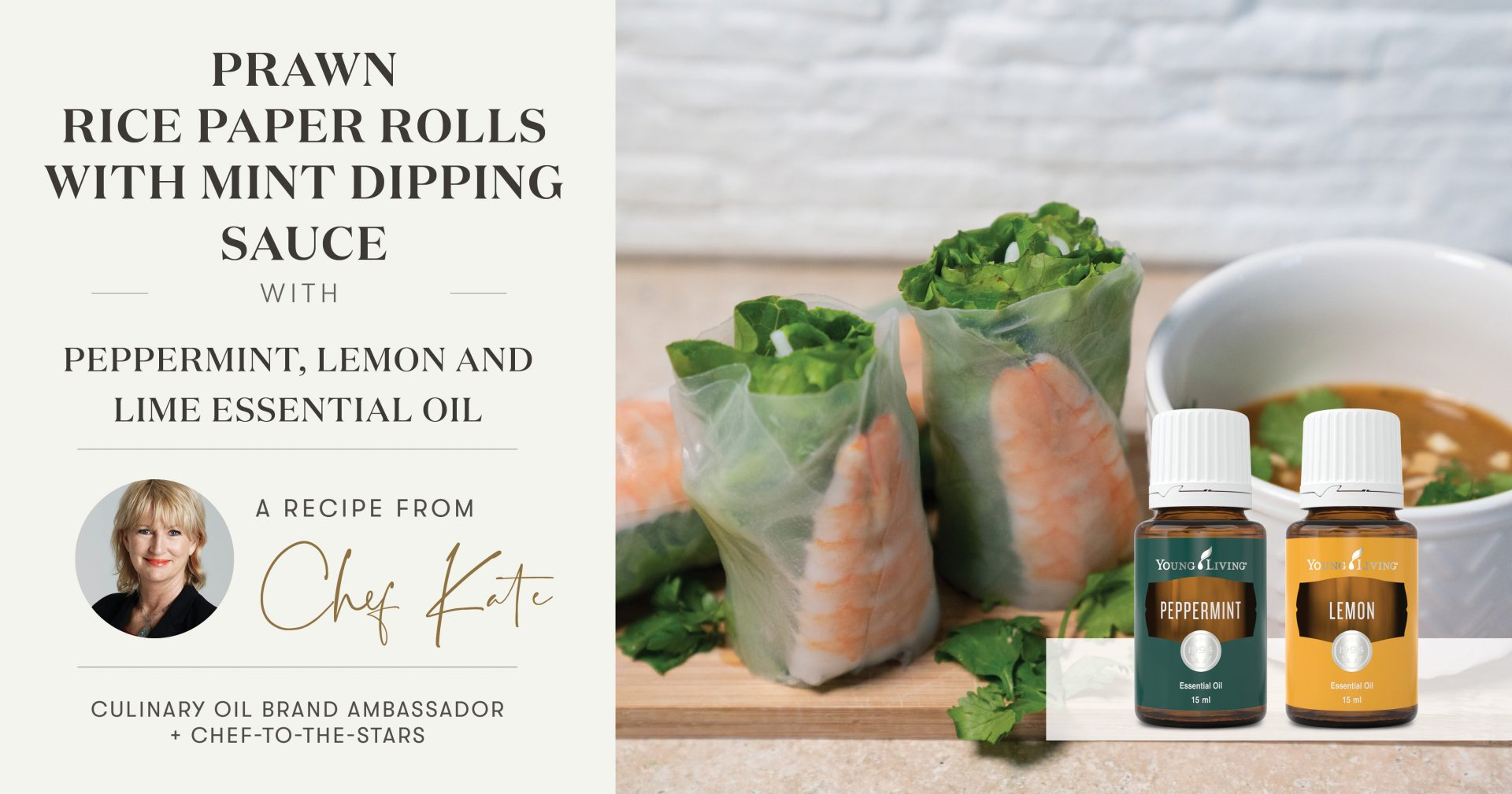 Prawn Rice Paper Rolls with Mint Dipping Sauce Header