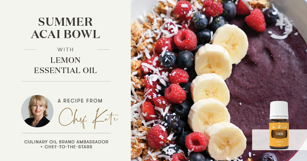 Summer acai bowl with Lemon essential oil Header