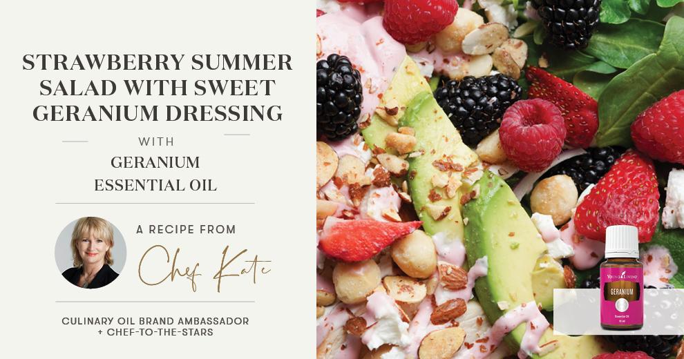 Strawberry Summer Salad with Sweet Geranium Dressing Header
