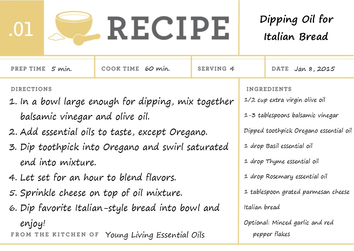 Dipping Oil for Italian Bread - with Young Living Essential Oils