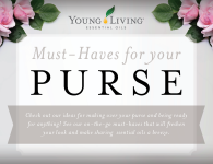 Young Living Purse Makeover - Lip Balms (Grapefruit, Lavender, Cinnamint), L'Briante, Thieves Waterless Hand Purifier, Thieves Hard Lozenges, Rose Ointment, Essential Oil Sample Packets, Stress Away Roll-on