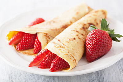 Yogurt-Filled Einkorn Crepes