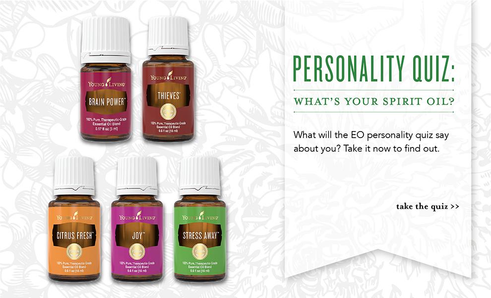 Young Living Personality Quiz - Essential Oils: Citrus Fresh, Thieves, Joy, Stress Away, Brain Power