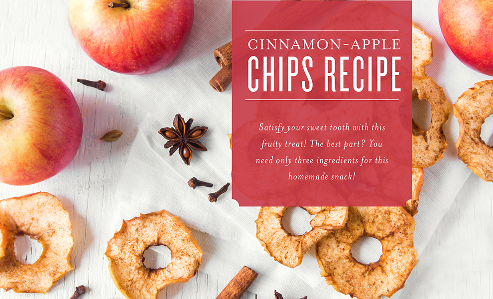 Cinnamon-Apple Chips Recipe with cinnamon essential oil header