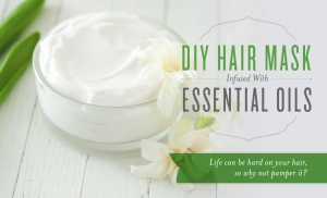 DIY hair mask infused with essential oils in a small glass bowl