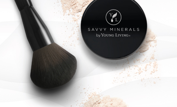 savvy minerals veil powder on white background with powder brush