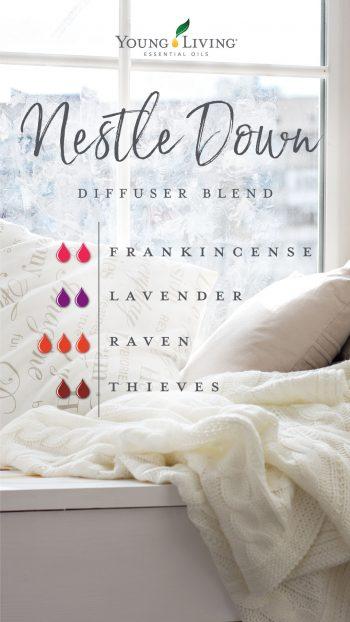diffuser blend with 2 drops frankincense, 2 drops lavender, 3 drops raven, 2 drops thieves
