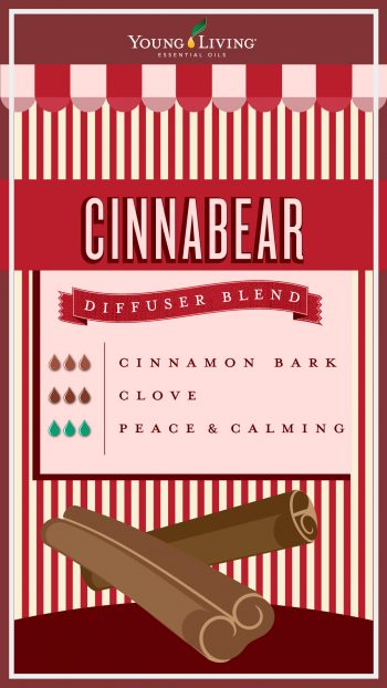 cinnamon candy diffuser blend with 3 drops cinnamon bark, 3 drops clove, 3 drops peace and calming