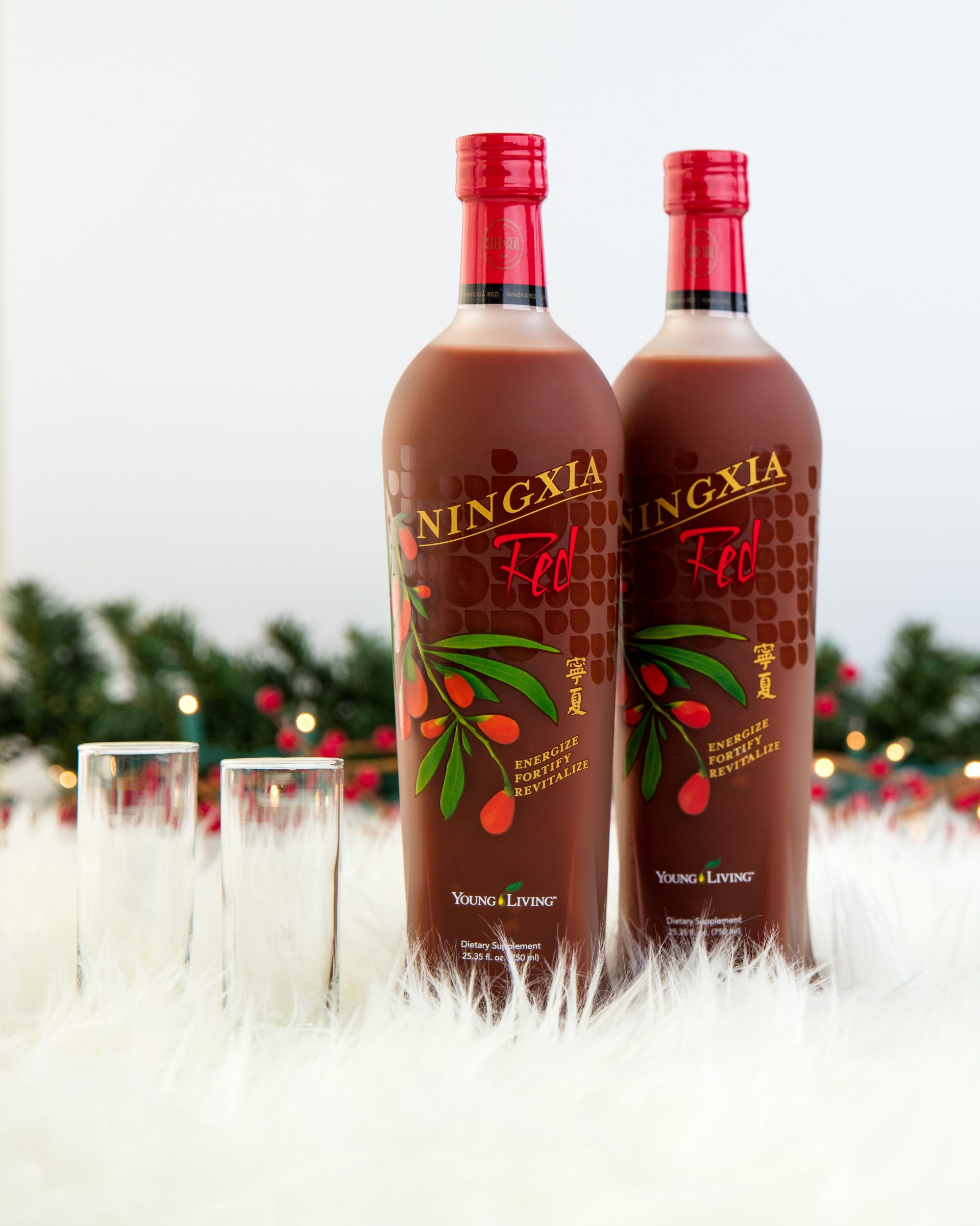 bottles of ningxia red waiting to be made into delicious holiday mocktails