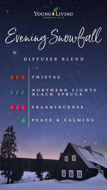 evening snowfall diffuser blend recipe: 3 drops Thieves, 3 drops Northern Lights Black Spruce, 3 drops frankincense, 1 drop Peace and calming