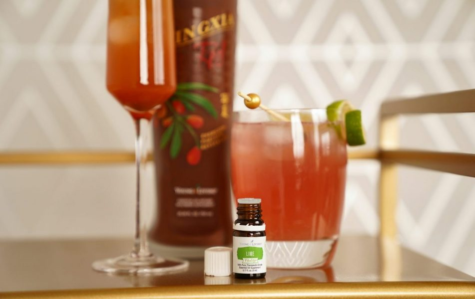 holiday mocktails using Lime Vitality essential oil and NingXia red