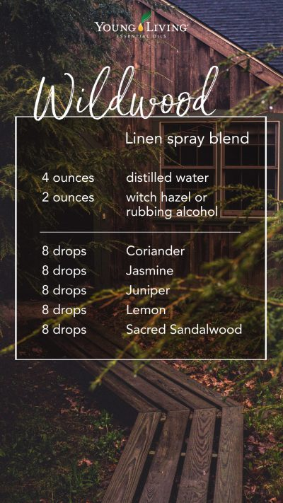 DIY linen spray recipe with essential oils: 4 ounces distilled water, 2 ounces witch hazel or rubbing alcohol, 8 drops Coriander 8 drops Jasmine 8 drops Juniper 8 drops Lemon 8 drops Sacred Sandalwood