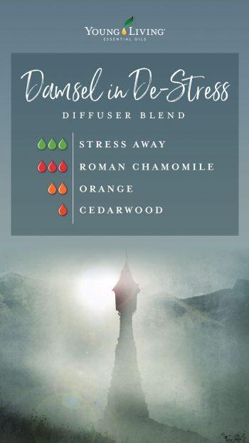 damsel in destress diffuser blend recipe with essential oils: 3 drops stress away, 3 drops roman chamomile, 2 drops Orange, 1 drop cedarwood