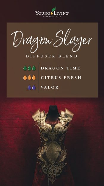 dragon slayer diffuser blend recipe with essential oils: 3 drops dragon time, 3 drops citrus fresh, 2 drops valor