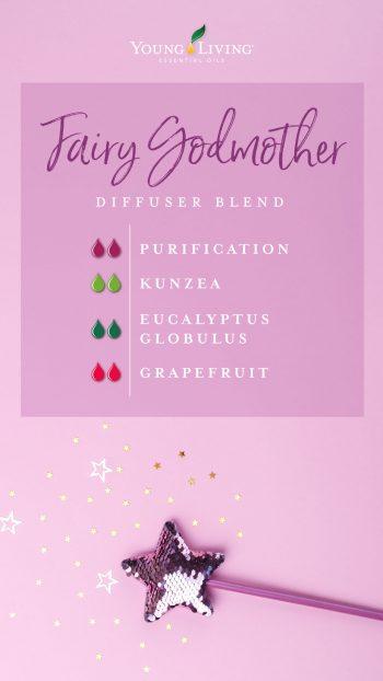 fairy godmother diffuser blend recipe with essential oils: 2 drops purification, 2 drops kunzea, 2 drops eucalyptus globulus, 2 drops grapefruit