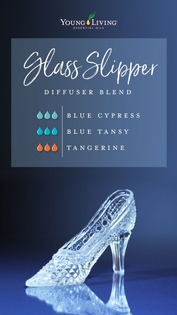 glass slipper diffuser blend recipe with essential oils: 3 drops blue cypress, 3 drops blue tansy, 3 drops Tangerine
