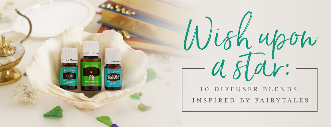 A fairytale-inspired composition with a magic lamp, shells, an enchanted mirror, showing how to make fairytale diffuser blends using essential oils like Lime, Royal Hawaiian Sandalwood, and Davana