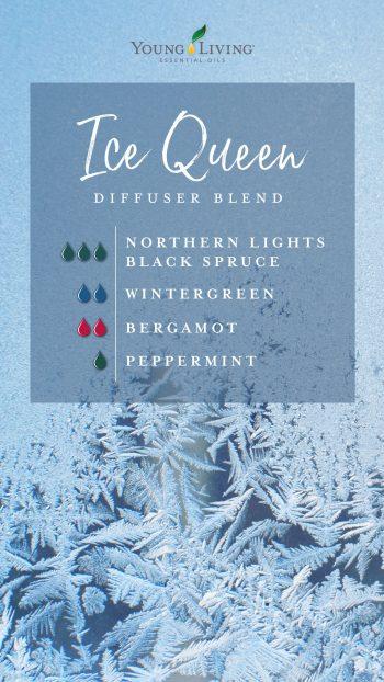 ice queen diffuser blend recipe: 3 drops Northern Lights Black Spruce, 2 drops Wintergreen, 2 drops Bergamot, 1 drop Peppermint