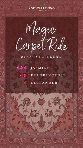 magic carpet ride diffuser blend recipe with essential oils: 3 drops jasmine, 3 drops frankincense, 3 drops coriander