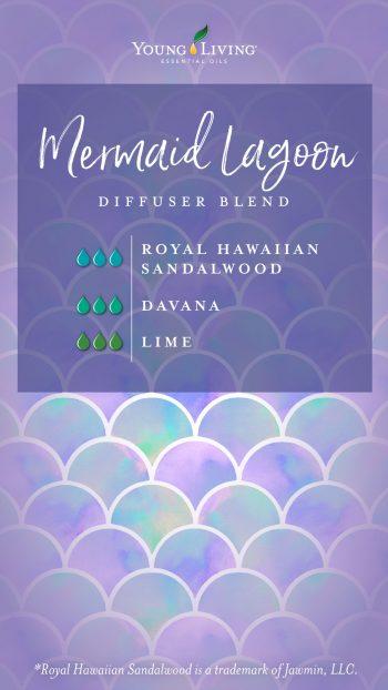mermaid lagoon diffuser blend recipe with essential oils: 3 drops royal hawaiian sandalwood, 3 drops davana, 3 drops Lime