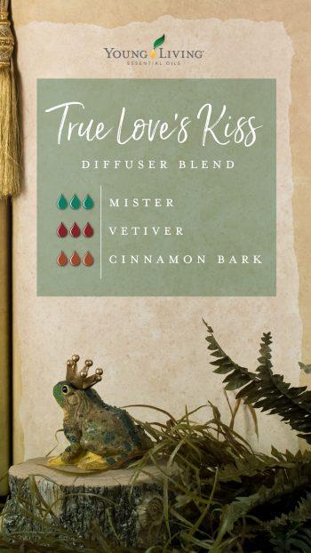 true love's kiss diffuser blend recipe with essential oils: 3 drops Mister, 3 drops vetiver, 3 drops cinnamon bark
