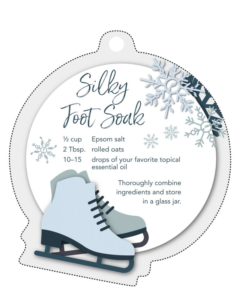 Silky foot soak printable gift tag showing an ice skate and the recipe. Silky foot soak recipe: 1/2 cup epsom salt, 2 tablespoons rolled oats, 10-15 drops of your favorite topical essential oil. thoroughly combine ingredients and store in a glass jar.