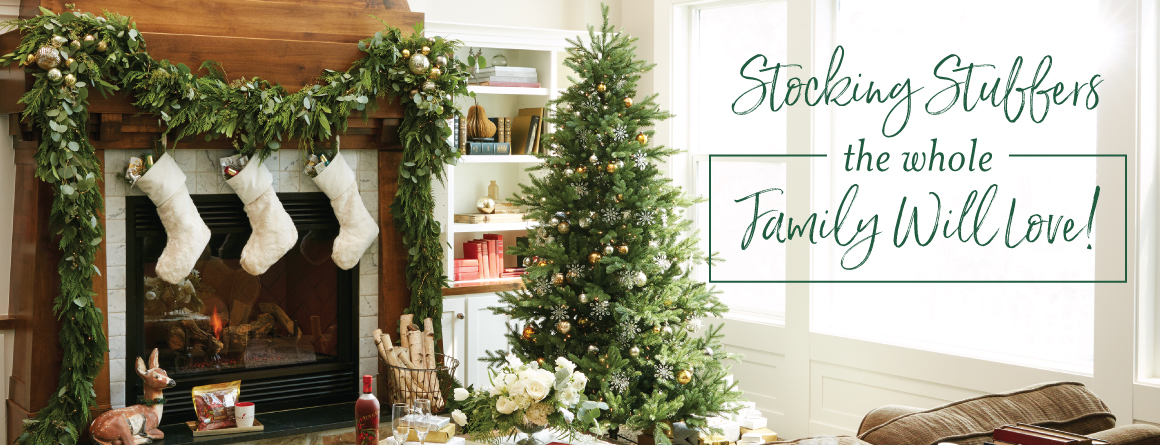 """a festive living room with stocking stuffer ideas, decorated for christmas with a tree, stockings, and presents. Corner text says: """"Stocking stuffers the whole family will love!"""""""