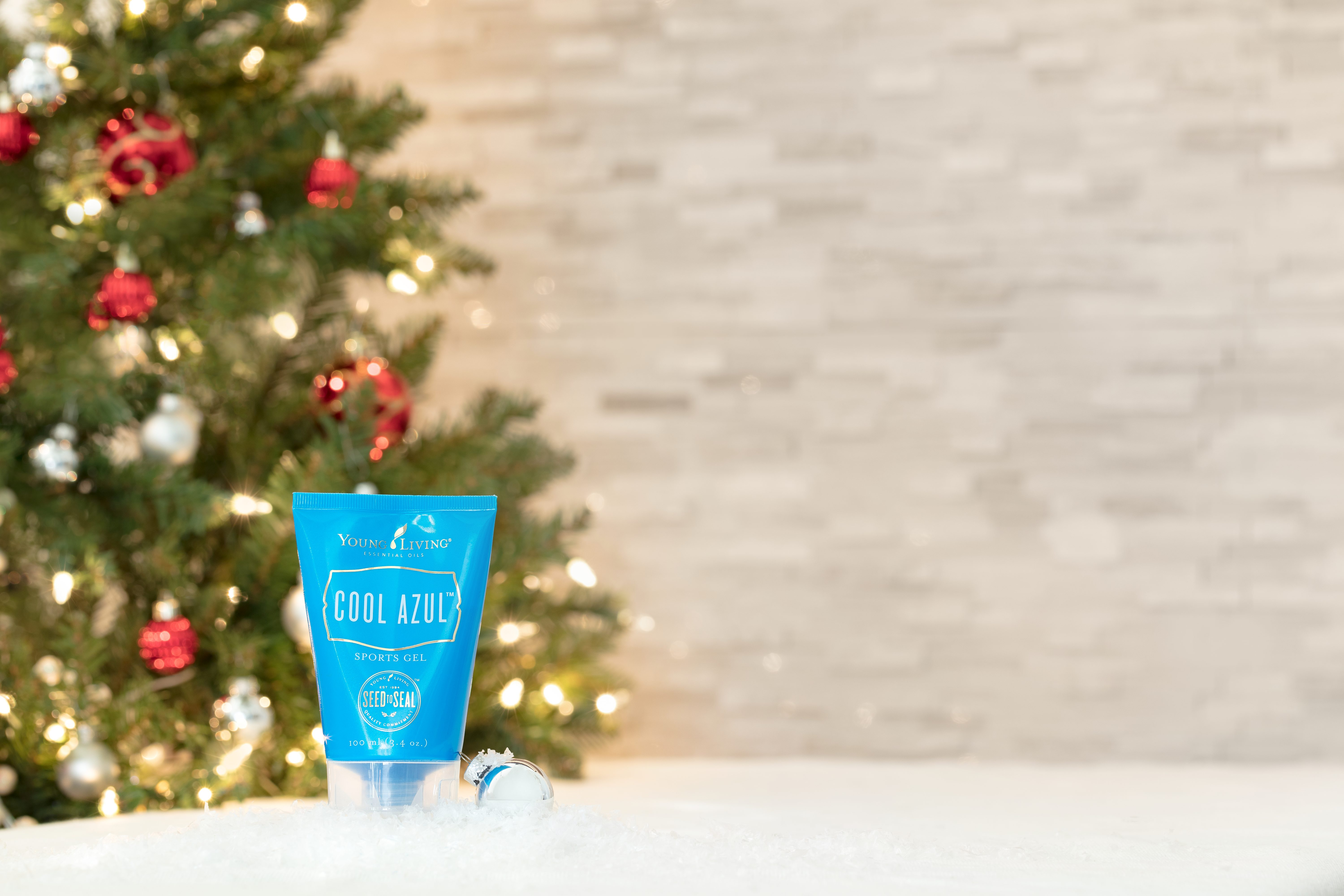 stocking stuffer idea: cool azul sports gel sitting under the christmas tree makes a great stocking stuffer
