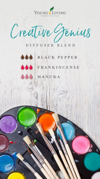Creative Genius diffuser blend recipe: 3 drops Black Pepper 3 drops Frankincense 3 drops Manuka