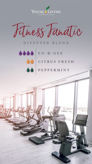 diffuser blend recipe: Fitness Fanatic diffuser blend 4 drops En-R-Gee 2 drops Citrus Fresh 2 drops Peppermint